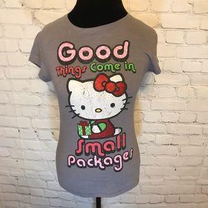 Hello Kitty Distressed Design Christmas Tee Shirt